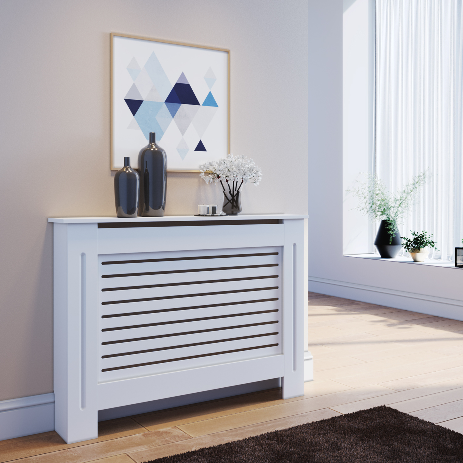 Radiator Cover Medium White Painted Cabinet Mdf Wood Heating Cover Home Decor Ebay