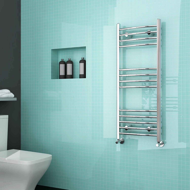 luxury curved chrome designer towel rail central heating bathroom radiator