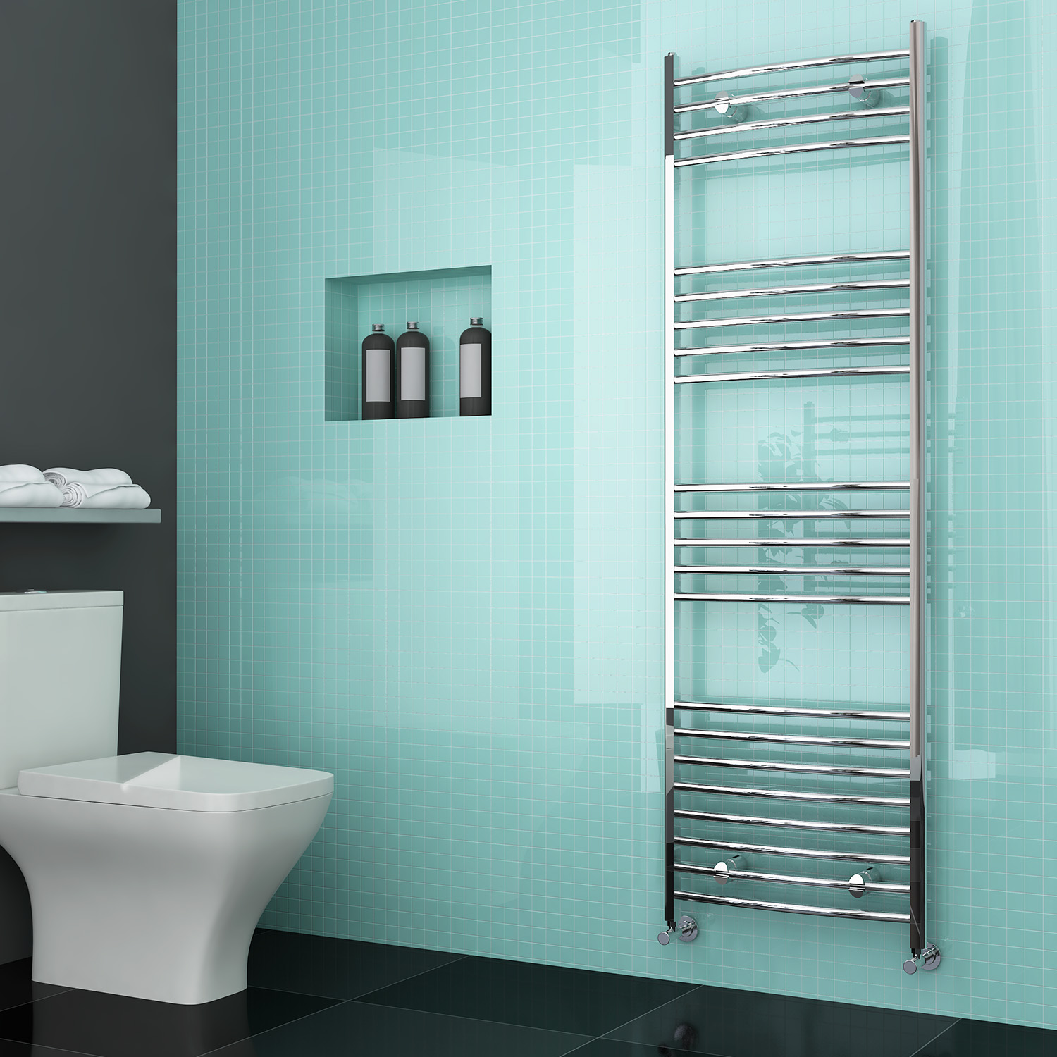 luxury curved chrome designer towel rail central heating bathroom radiator