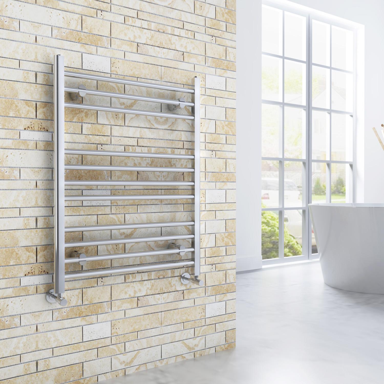 Chrome Straight Curved Panel Radiator Heated Bathroom