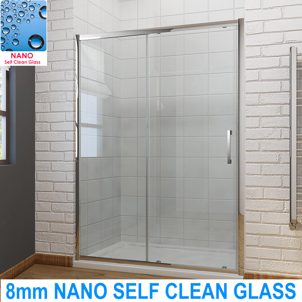 1000mm Single Sliding Shower Enclosure door Cubicle 8mm Self Clean ...