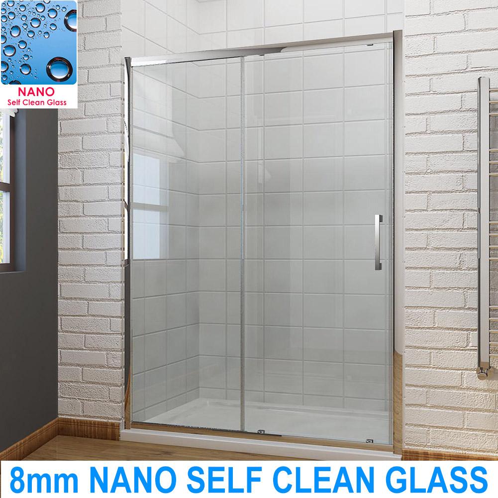 Single Sliding Shower Enclosure Self Clean Glass w/ Shower Tray ...