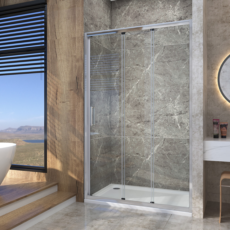 Details About Sliding Shower Enclosure Door Walk In Wet Room Large Entry 3 Panel 900 1200mm