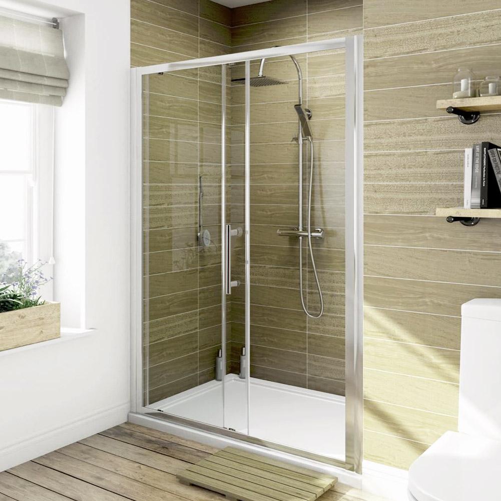 Walk in glass screen bifold pivot sliding shower door for 1700 high shower door