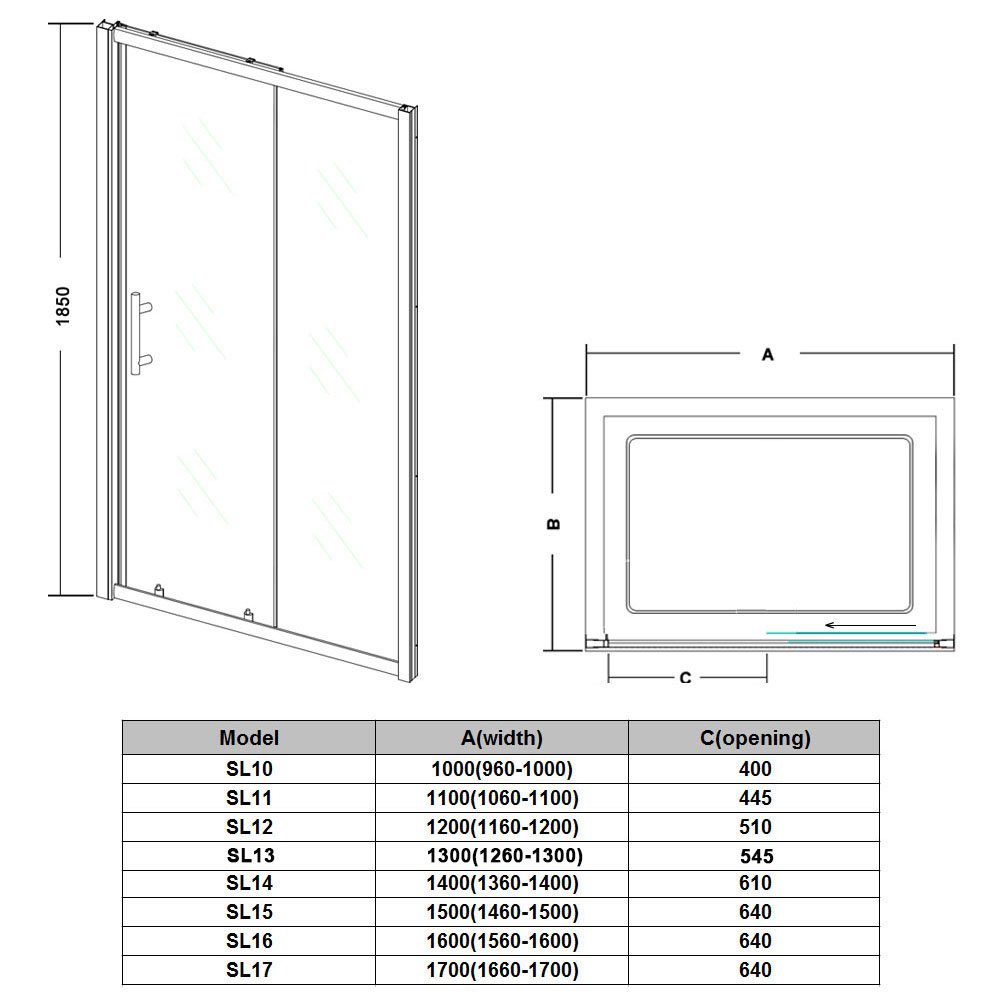 Walk in sliding door shower enclosure and stone tray for Sliding glass doors drawing