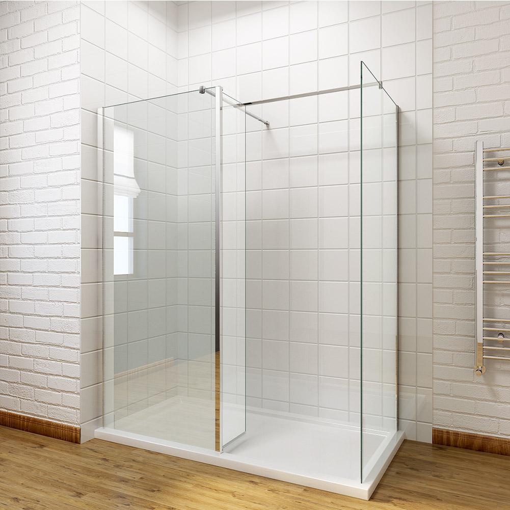 Walk in shower enclosure wet room screen flipper return panel tray waste 1900mm - Walk in glass shower enclosures ...